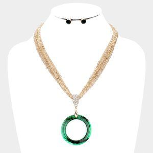 Open Circle Green Multi Strand Chain Necklace Set